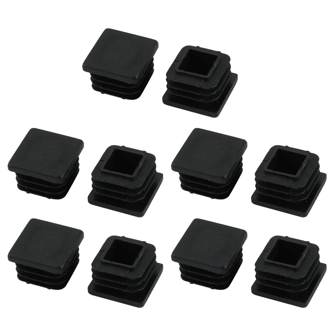 10pcs Furniture Legs Protector Plastic Square Tube Inserts Cap Black 20mm x 20mm