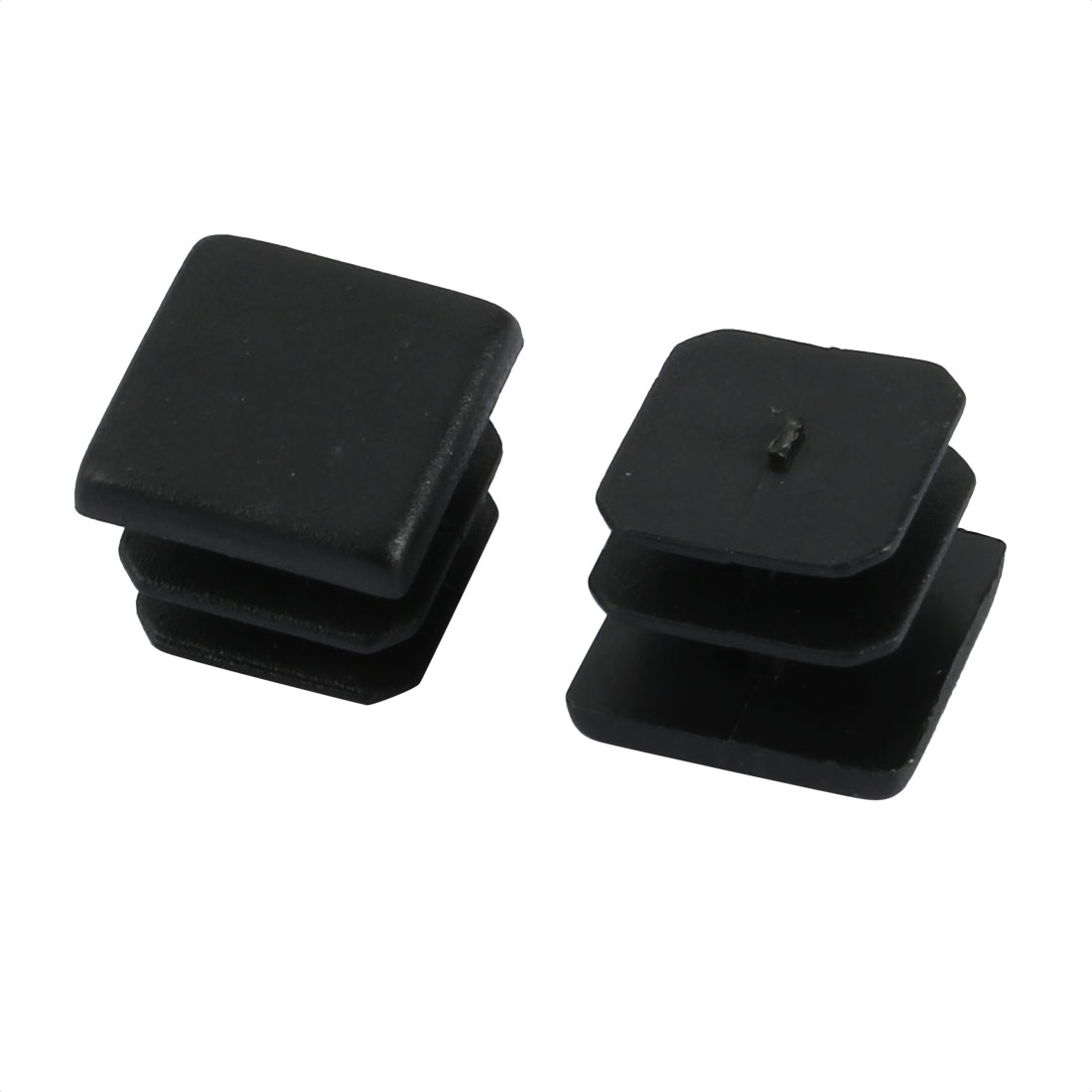 2pcs Furniture Legs Protector Plastic Square Tube Inserts Cap Black 13mm x 13mm