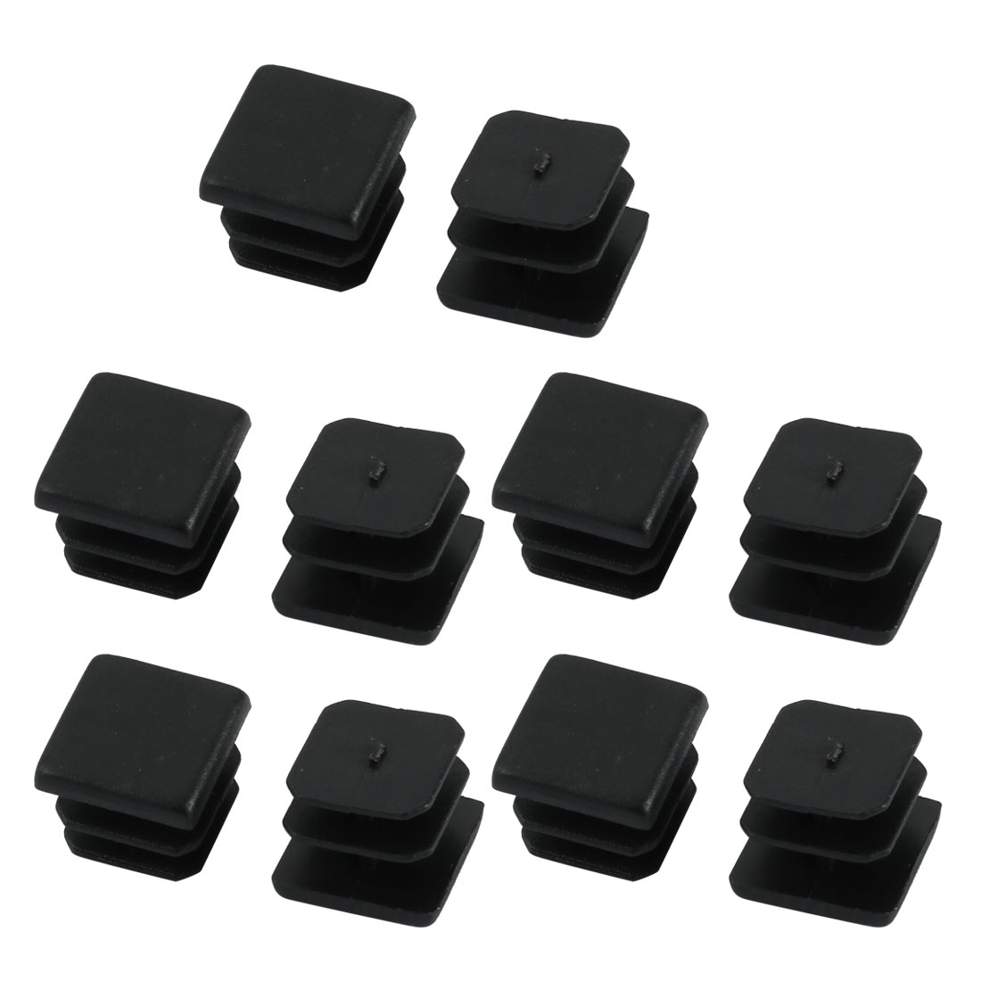 10pcs Furniture Legs Protector Plastic Square Tube Inserts Cap Black 13mm x 13mm