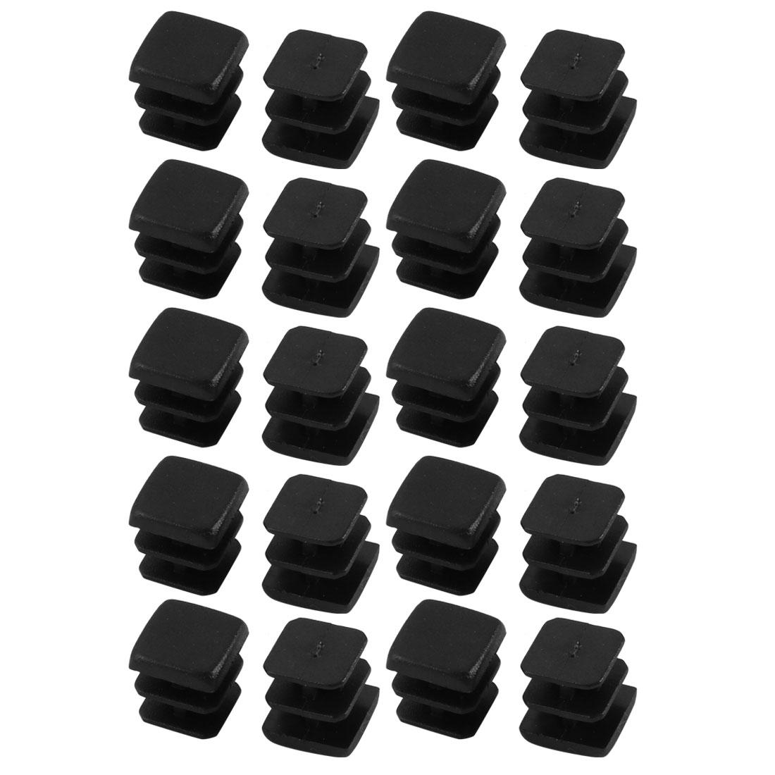 20pcs Furniture Legs Protector Plastic Square Tube Inserts Cap Black 10mm x 10mm
