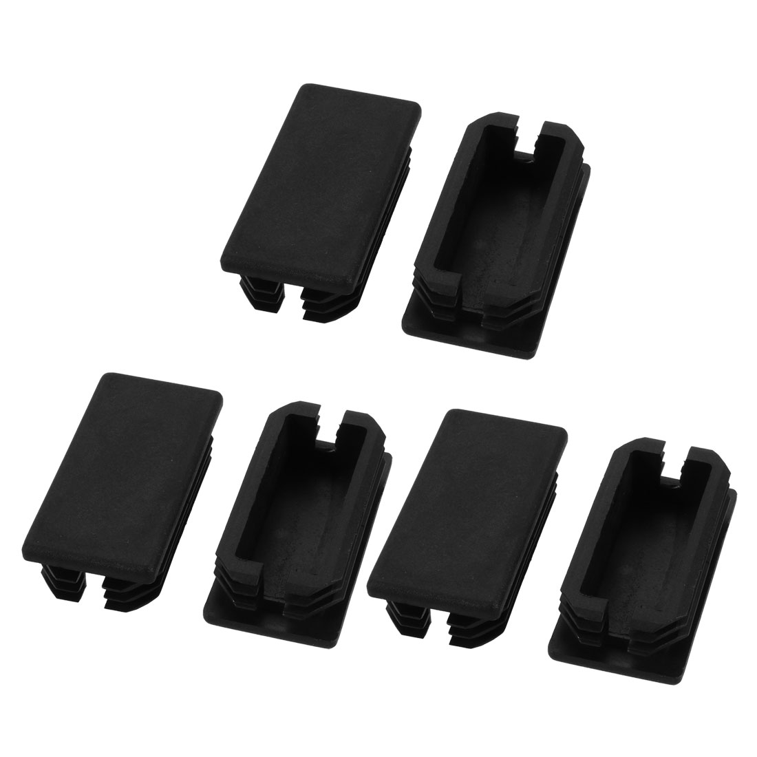 6pcs Furniture Legs Protector Rectangular Tube Inserts Cap Black 60mm x 30mm