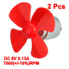 2pcs DC 6V 0.13A 7500(+/-10%)RPM Motor w 4 Vanes Red 56mm Rotating Dia Propeller