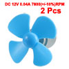 2pcs DC 12V 0.04A 7800(+/-10%)RPM Motor w 4 Vanes Blue 56mm Rotating Dia Propeller