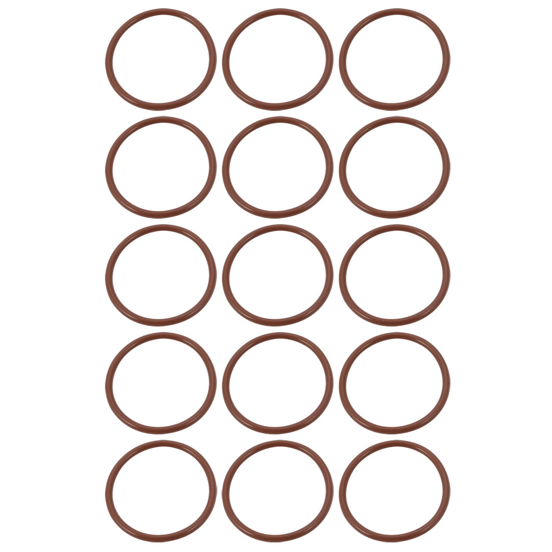 15pcs Brown 29mm Outer Dia 1.9mm Thickness Sealing Ring O-shape Rubber Grommet