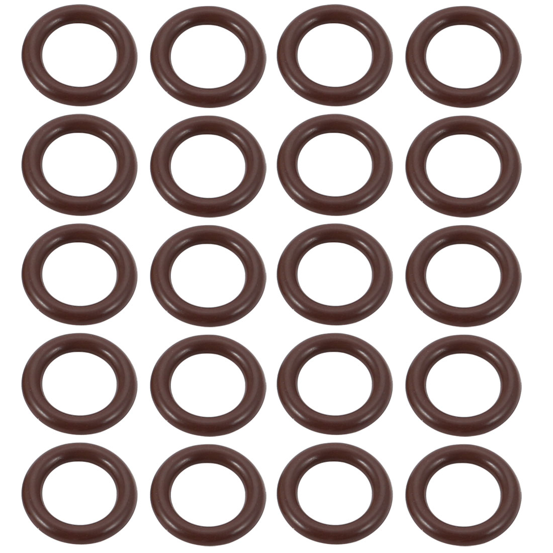20pcs Brown 10.5mm Outer Dia 1.9mm Thickness Sealing Ring O-shape Rubber Grommet