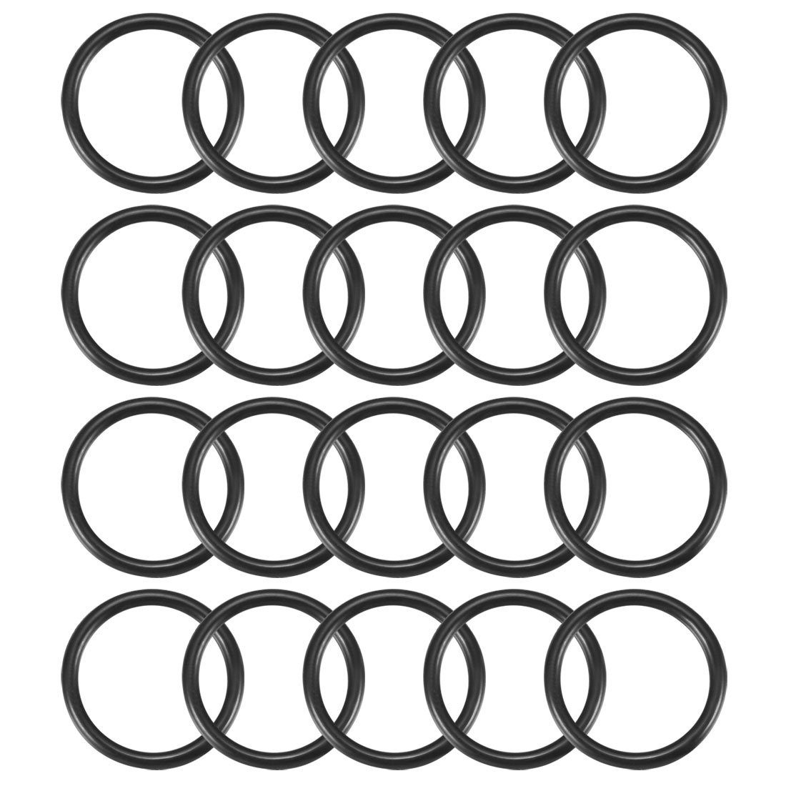 20pcs Black 20mm Outer Dia 1.9mm Thickness Sealing Ring O-shape Rubber Grommet