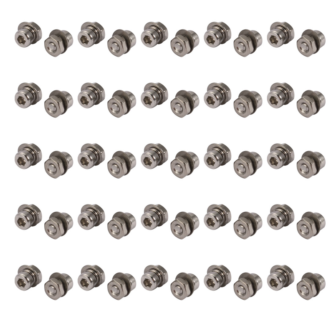 50pcs M2x3mm 304 Stainless Steel Knurled Hex Socket Head Bolts w Nut Washer