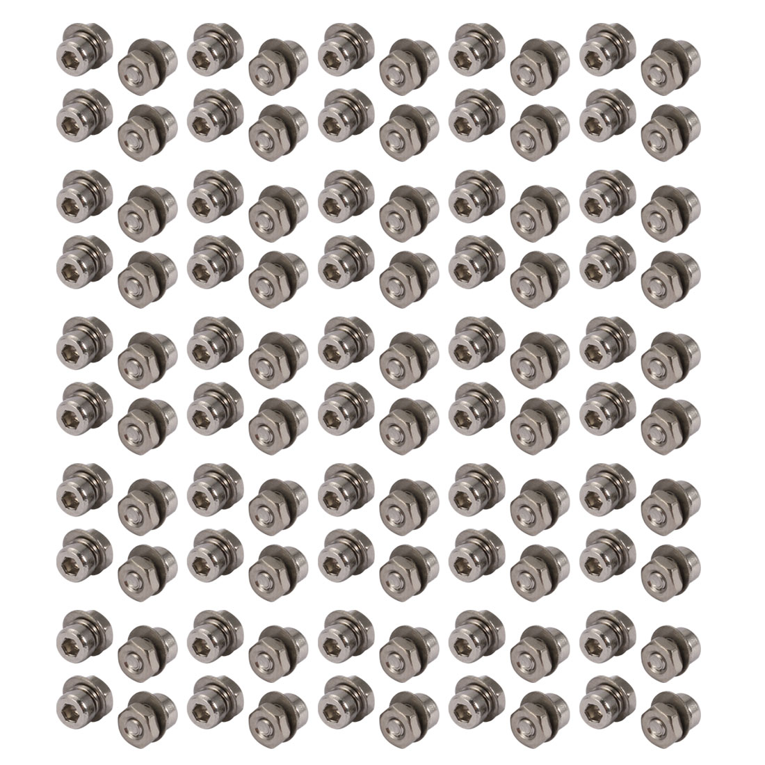 100pcs M2x3mm 304 Stainless Steel Knurled Hex Socket Head Bolts w Nut Washer