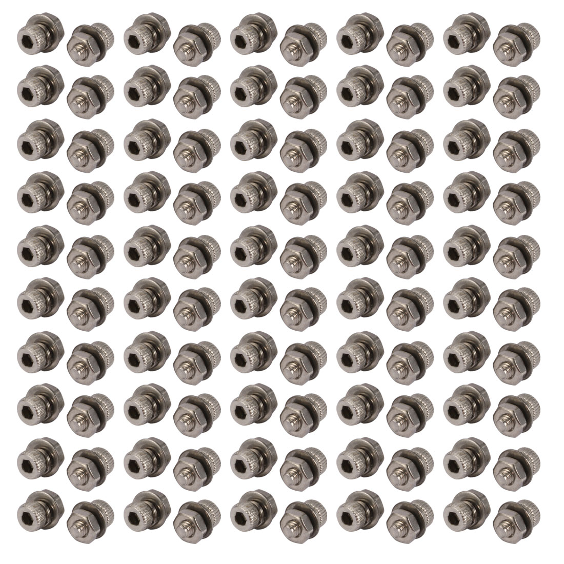 100pcs M2x4mm 304 Stainless Steel Knurled Hex Socket Head Bolts w Nut Washer
