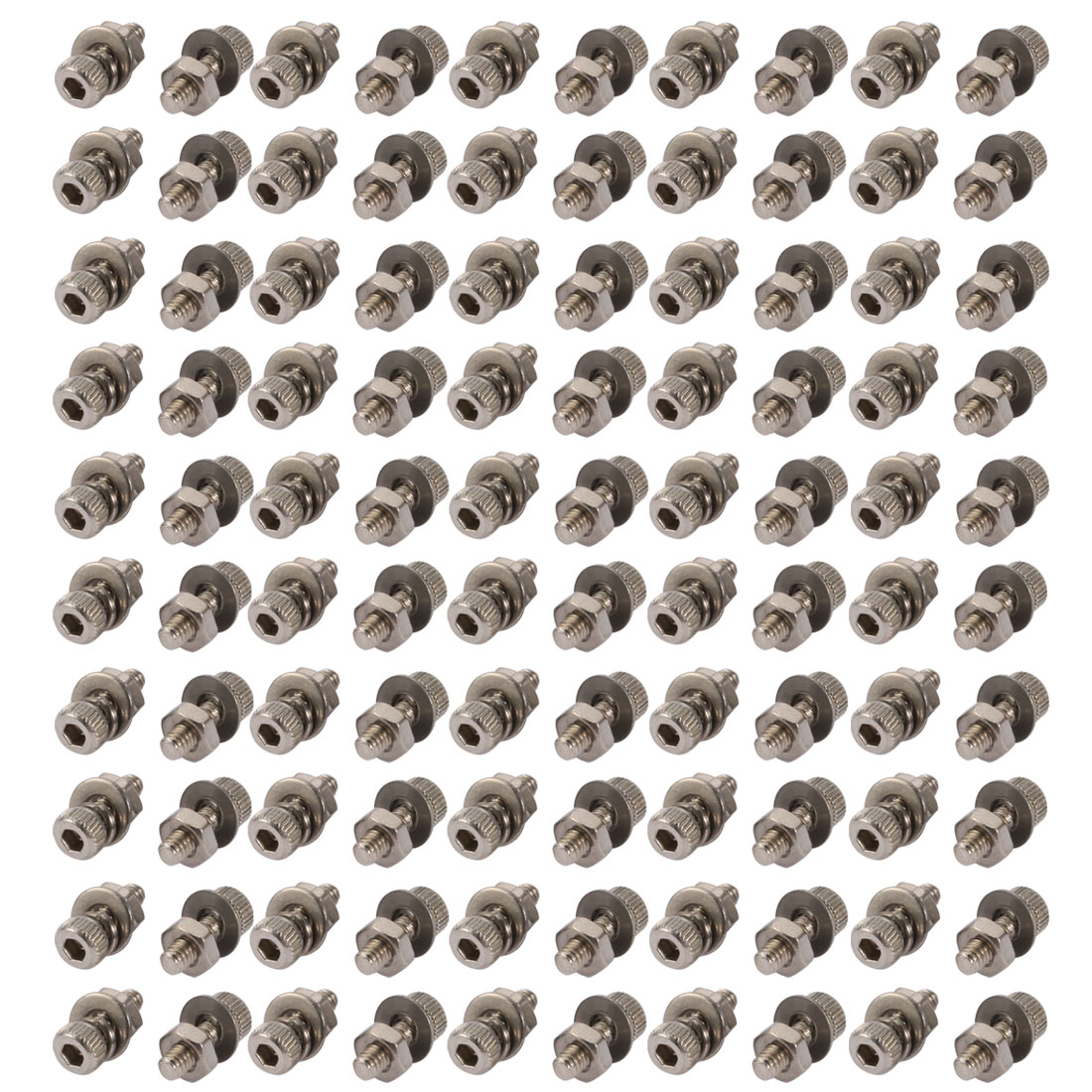 100pcs M2x6mm 304 Stainless Steel Knurled Hex Socket Head Bolts w Nut Washer
