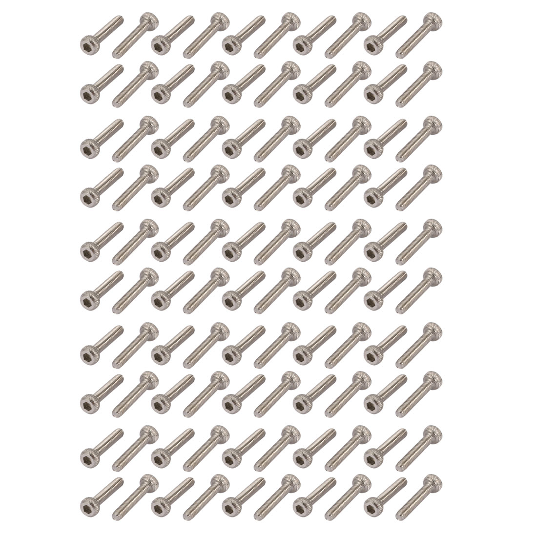 100pcs M2x10mm 304 Stainless Steel Knurled Hex Socket Head Bolts w Nut Washer