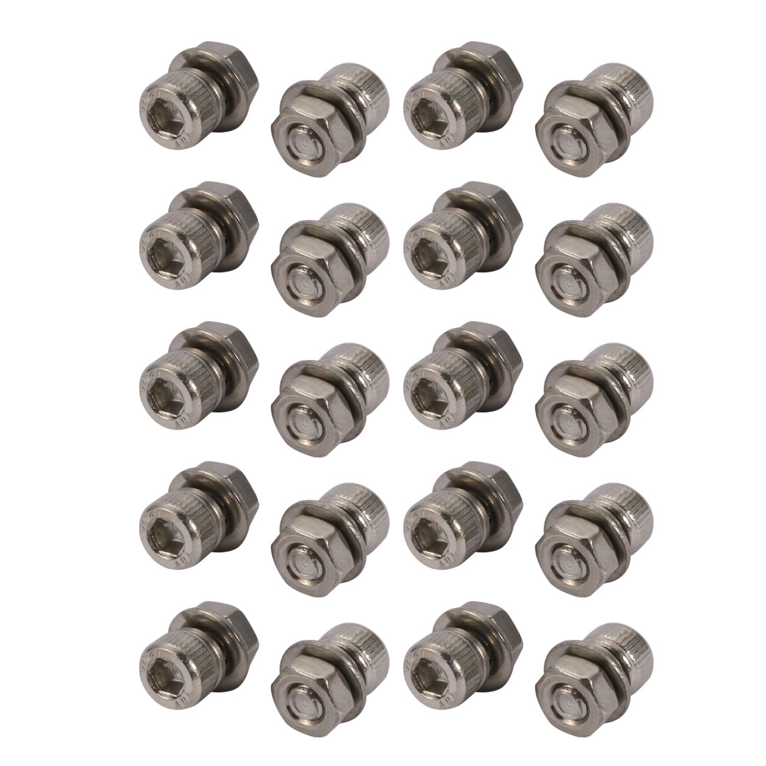 20pcs M4x6mm 304 Stainless Steel Knurled Hex Socket Head Bolts w Nut Washer