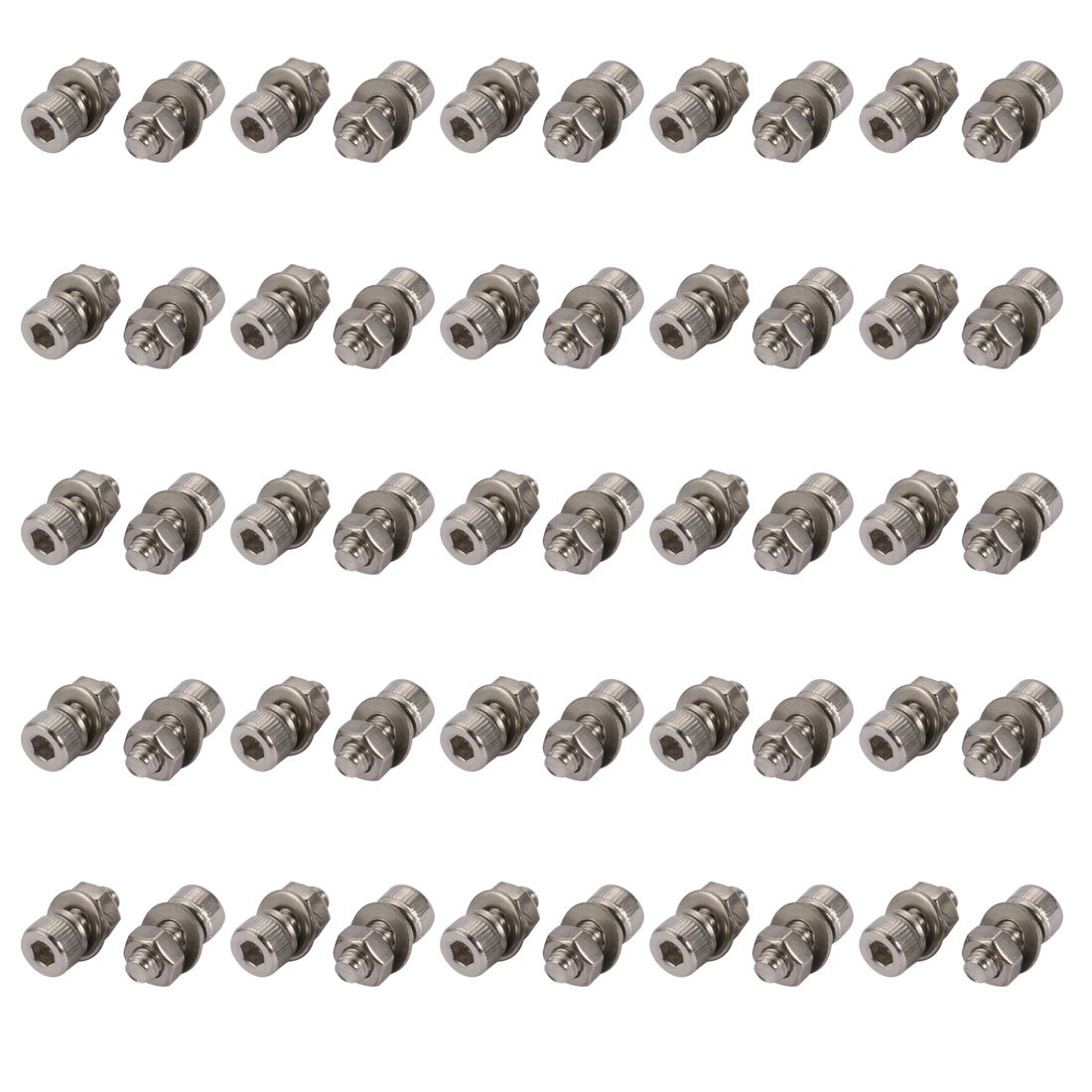 50pcs M4x10mm 304 Stainless Steel Knurled Hex Socket Head Bolts w Nut Washer