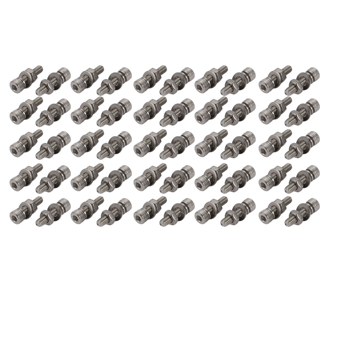 50pcs M4x18mm 304 Stainless Steel Knurled Hex Socket Head Bolts w Nut Washer