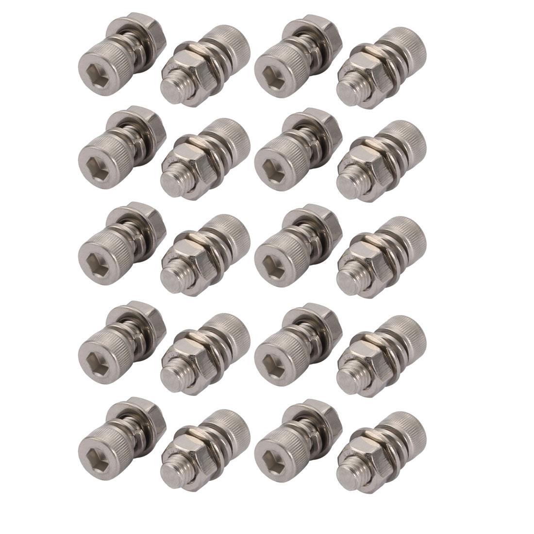 20Pcs M8x18mm 304 Stainless Steel Knurled Hex Socket Head Bolt Nut Set w Washer