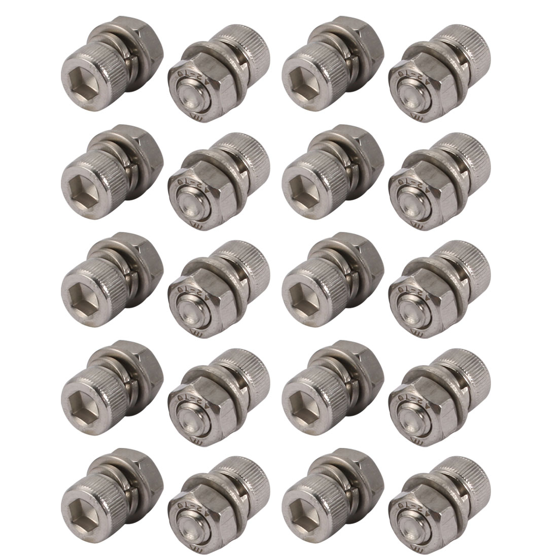 20Pcs M6x10mm 304 Stainless Steel Knurled Hex Socket Head Bolt Nuts Set w Washer