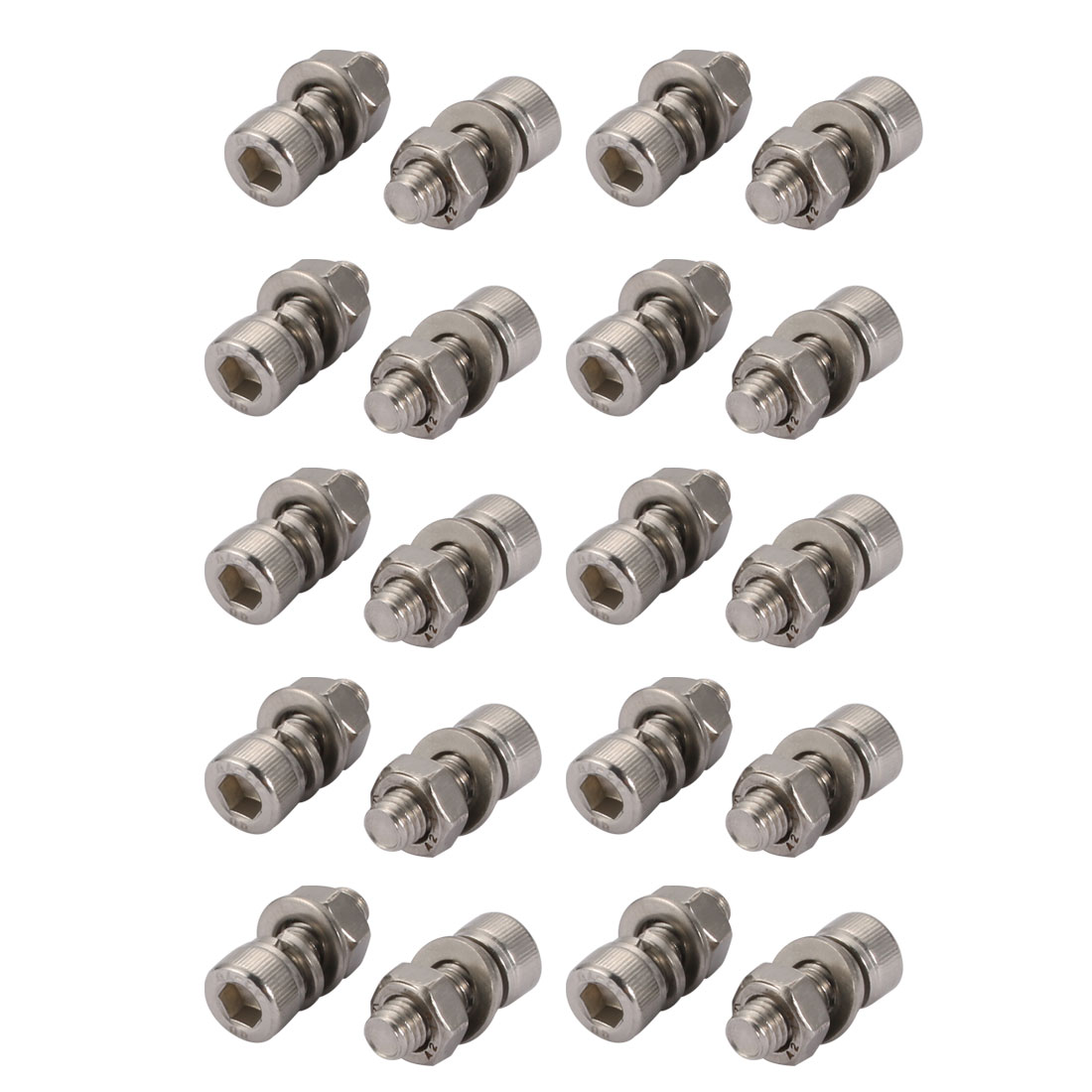20Pcs M6x16mm 304 Stainless Steel Knurled Hex Socket Head Bolt Nut Set w Washer