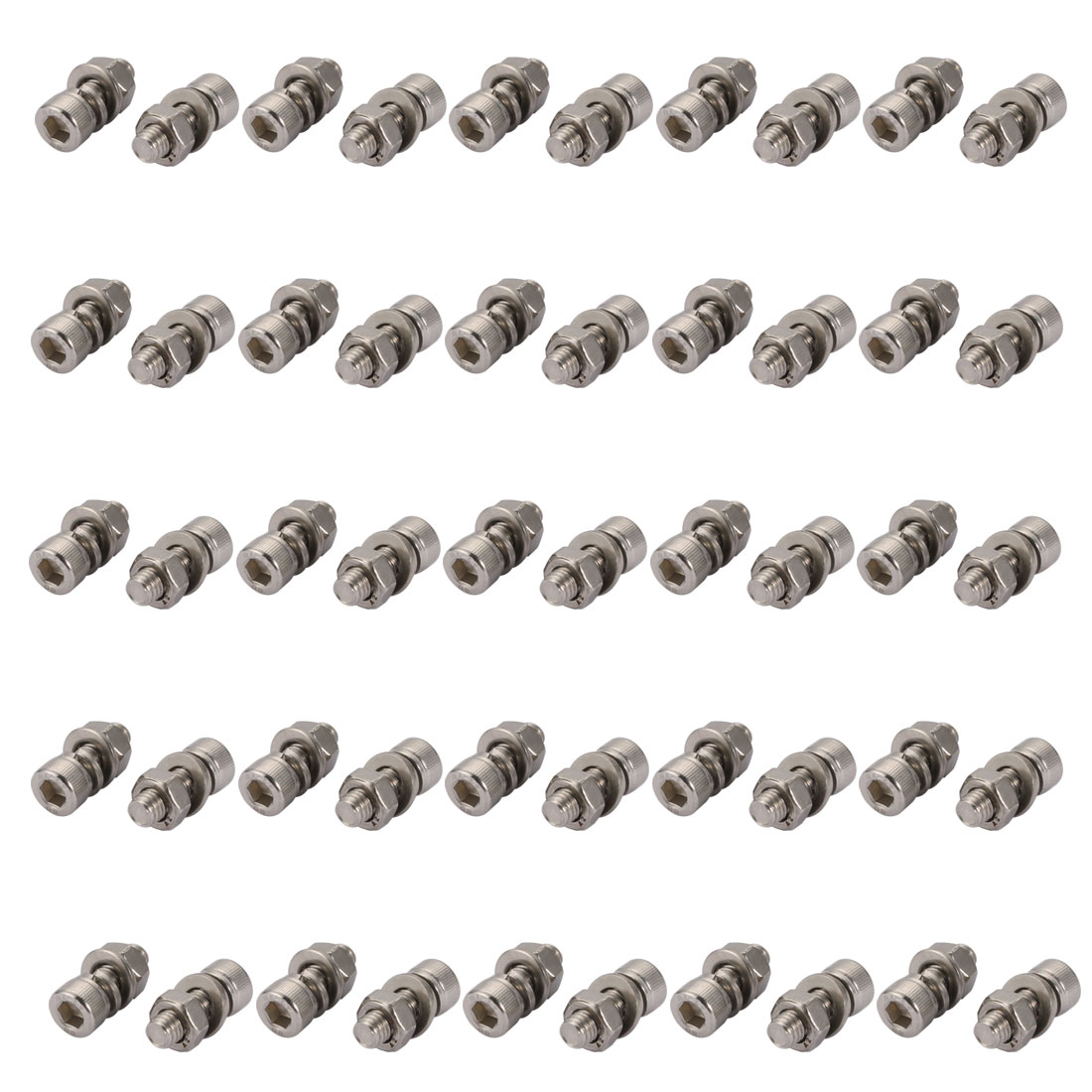 50Pcs M6x20mm 304 Stainless Steel Knurled Hex Socket Head Bolt Nut Set w Washer