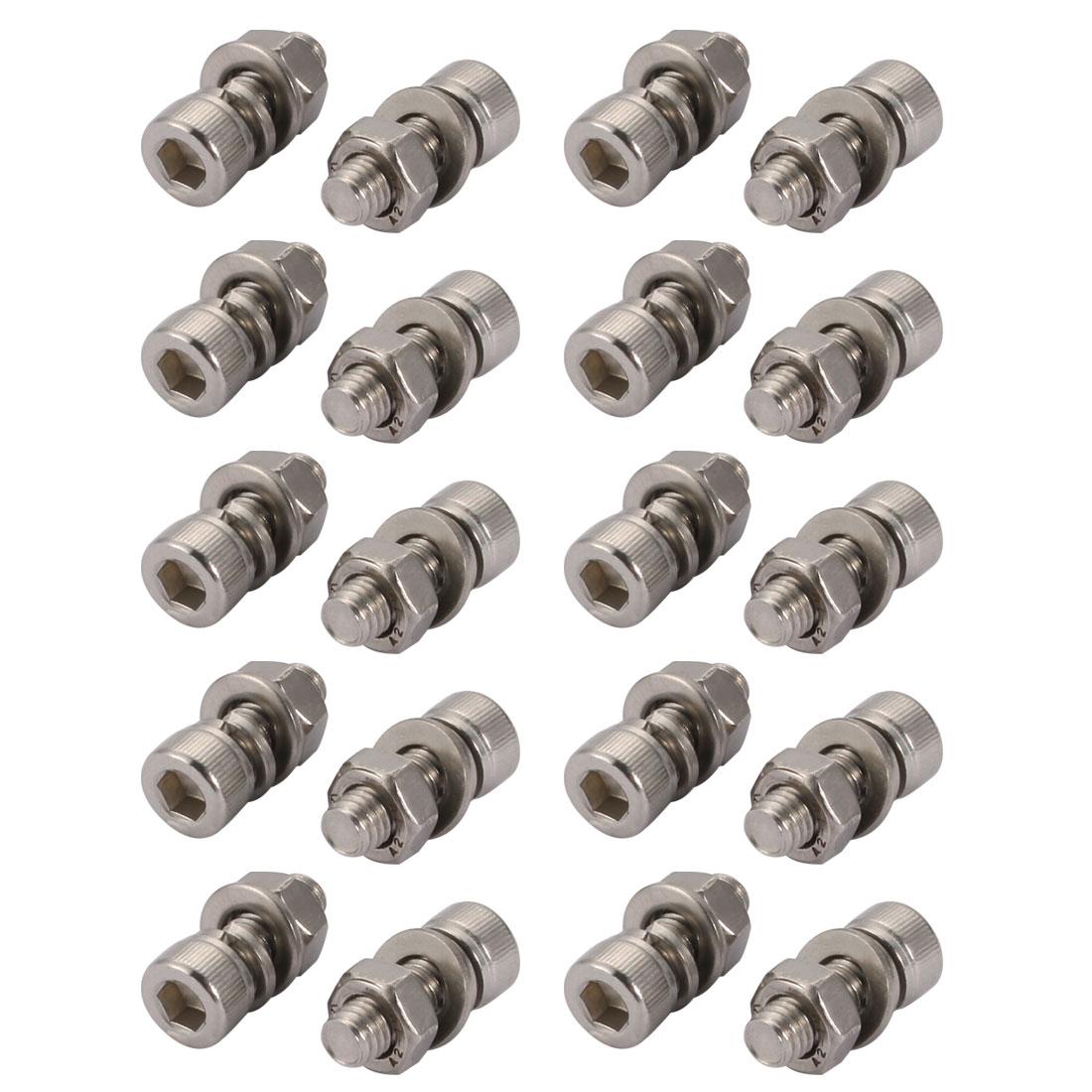 20Pcs M6x35mm 304 Stainless Steel Knurled Hex Socket Head Bolt Nut Set w Washer