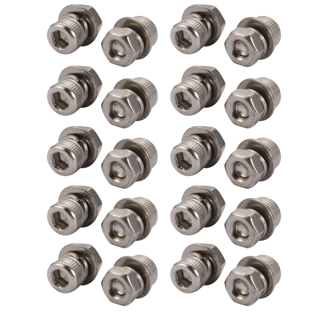20Pcs M4x5mm 304 Stainless Steel Knurled Hex Socket Head Bolt Nut Set w Washer