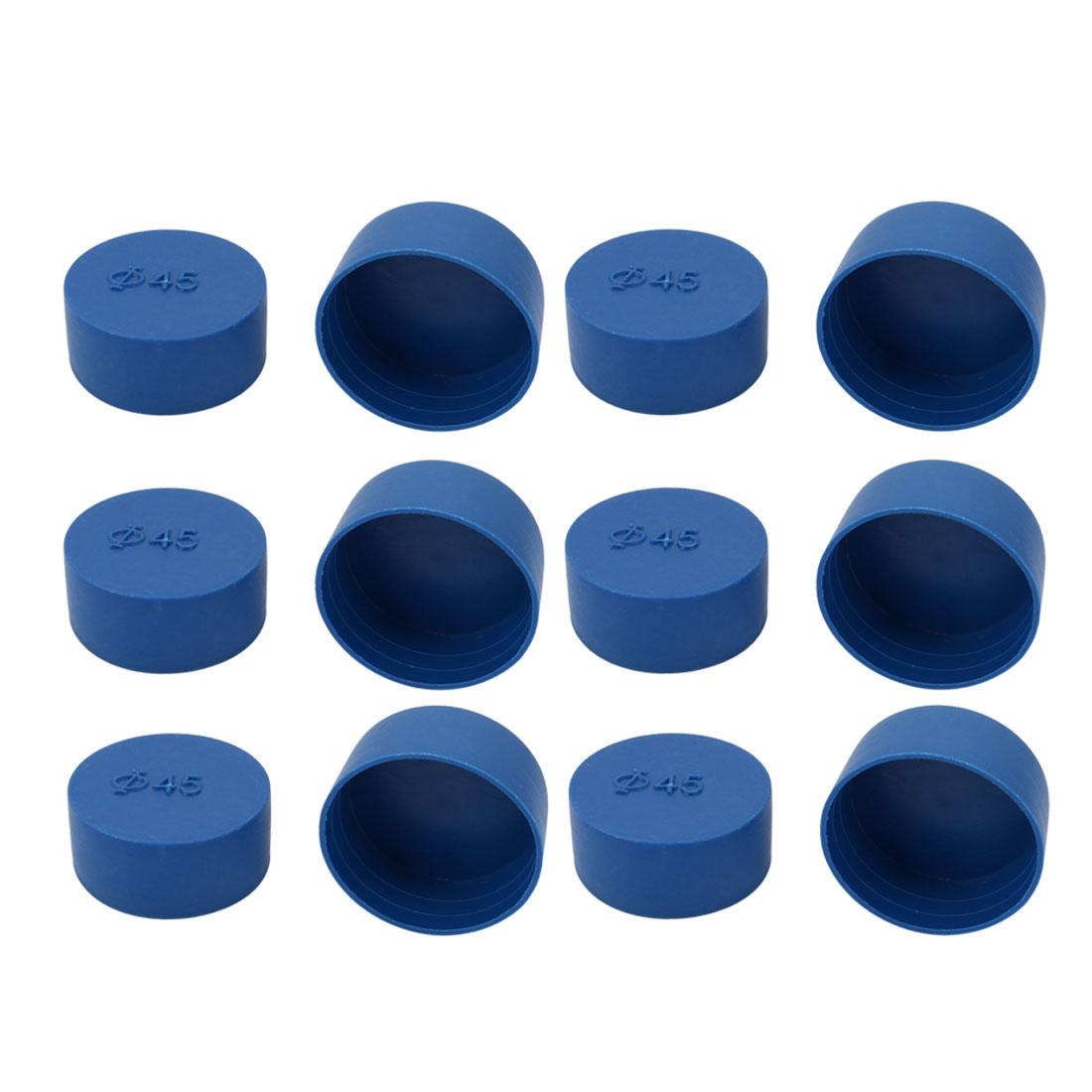 12pcs 45mm Inner Dia PE Plastic End Cap Bolt Thread Protector Tube Cover Blue