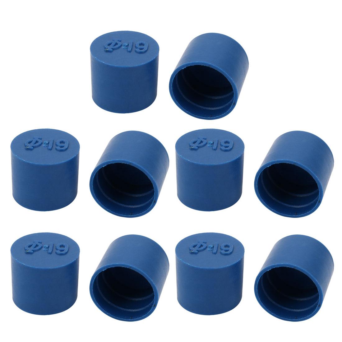 10pcs 19mm Inner Dia PE Plastic End Cap Bolt Thread Protector Tube Cover Blue
