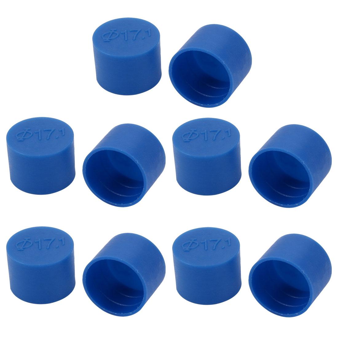 10pcs 17mm Inner Dia PE Plastic End Cap Bolt Thread Protector Tube Cover Blue