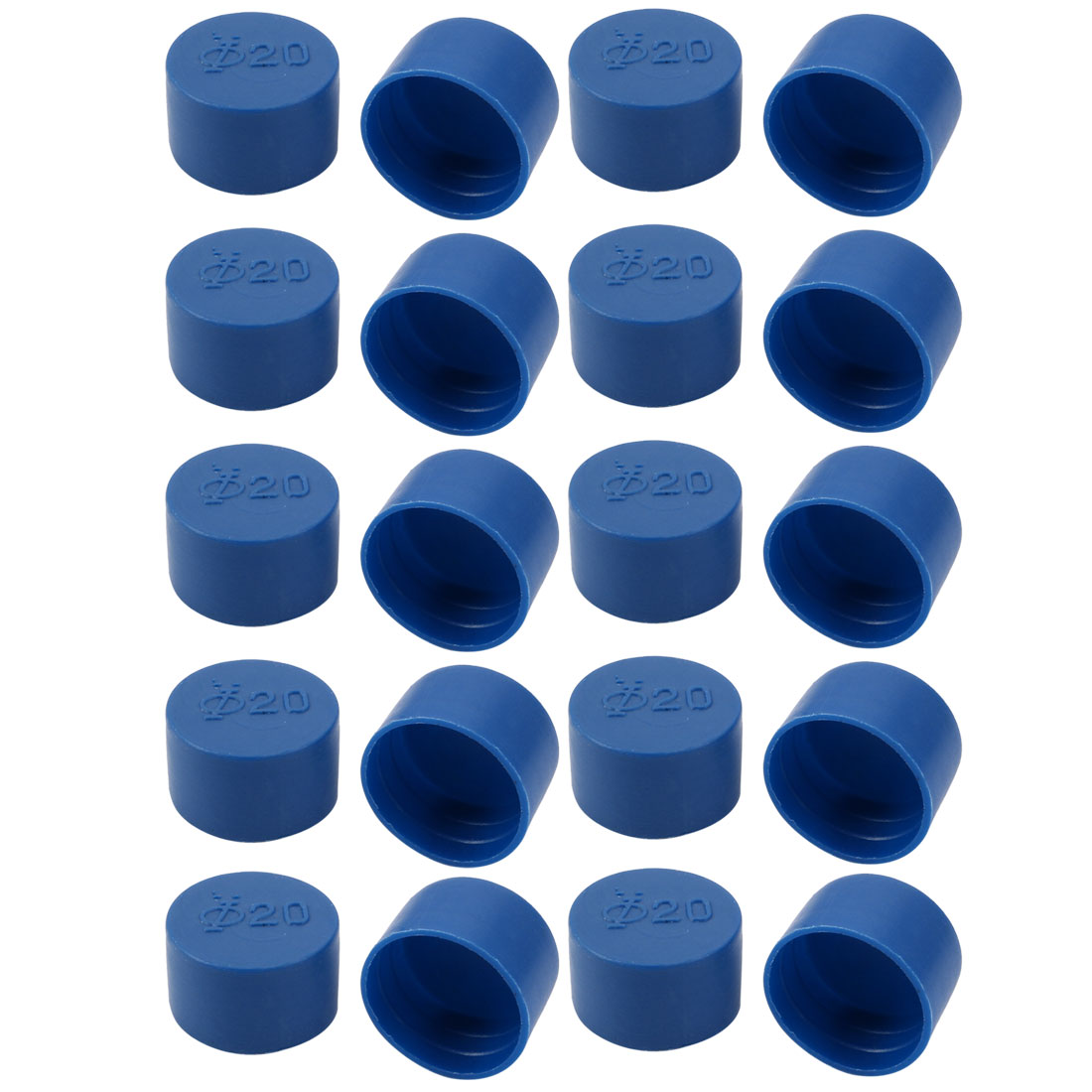 20pcs 20mm Inner Dia PE Plastic End Cap Bolt Thread Protector Tube Cover Blue