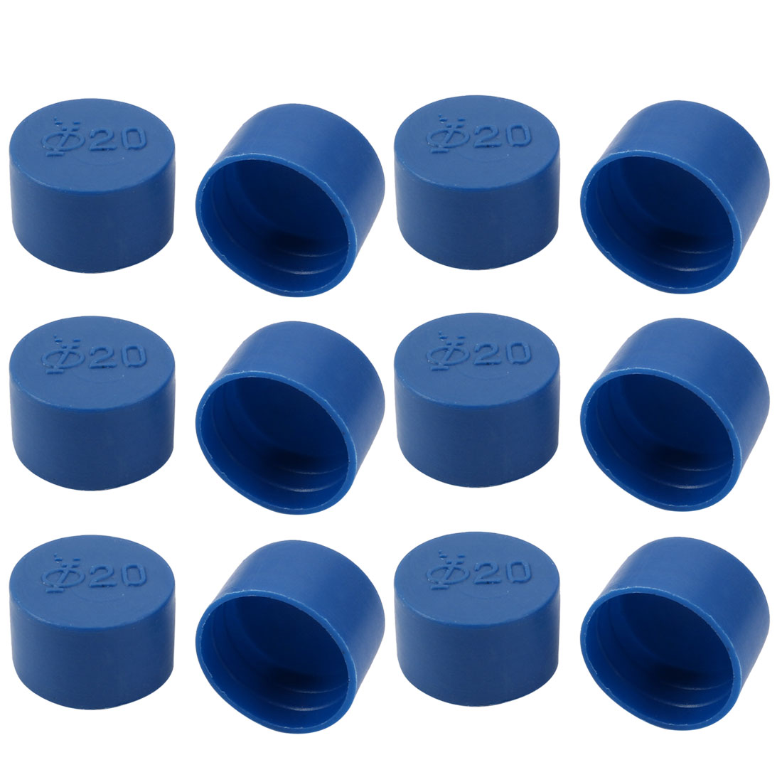 12pcs 20mm Inner Dia PE Plastic End Cap Bolt Thread Protector Tube Cover Blue