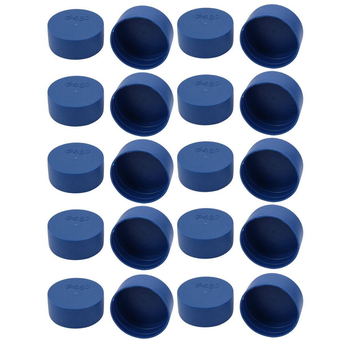 20pcs 48mm Inner Dia PE Plastic End Cap Bolt Thread Protector Tube Cover Blue