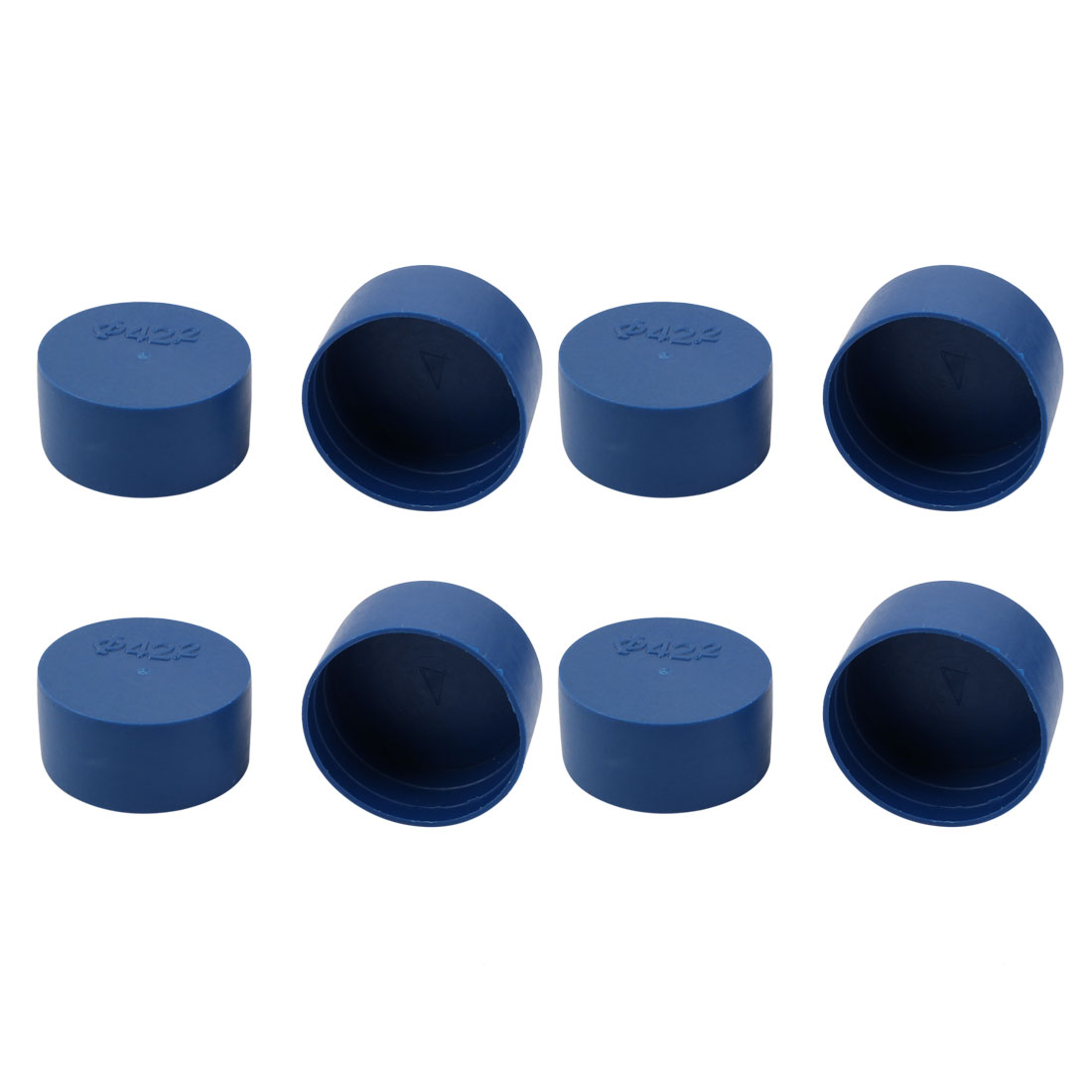 8pcs 42mm Inner Dia PE Plastic End Cap Bolt Thread Protector Tube Cover Blue