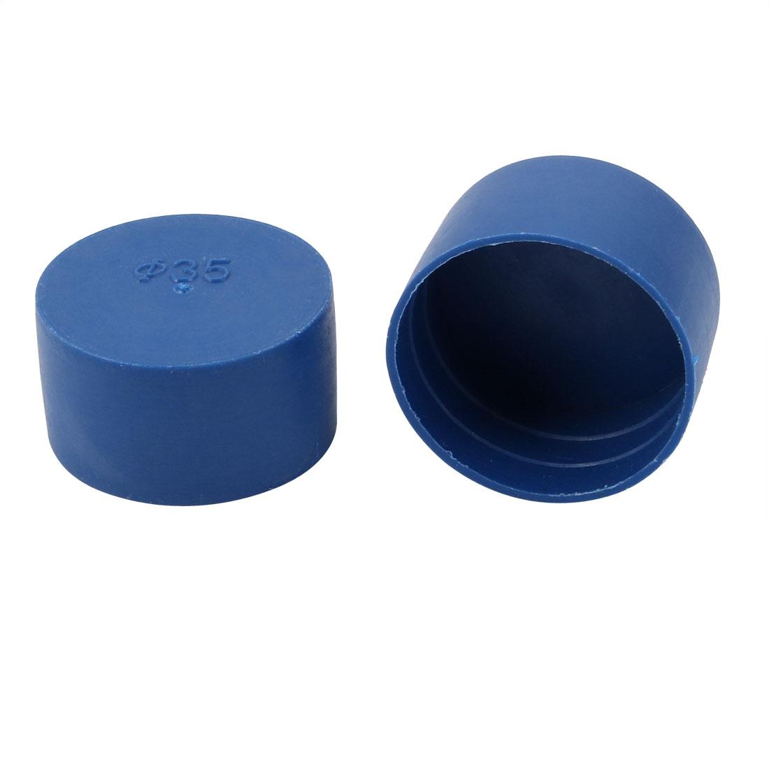 2pcs 35mm Inner Dia PE Plastic End Cap Bolt Thread Protector Tube Cover Blue