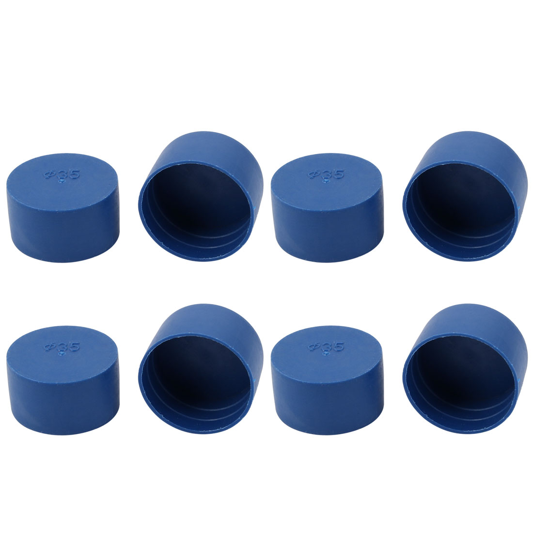 8pcs 35mm Inner Dia PE Plastic End Cap Bolt Thread Protector Tube Cover Blue