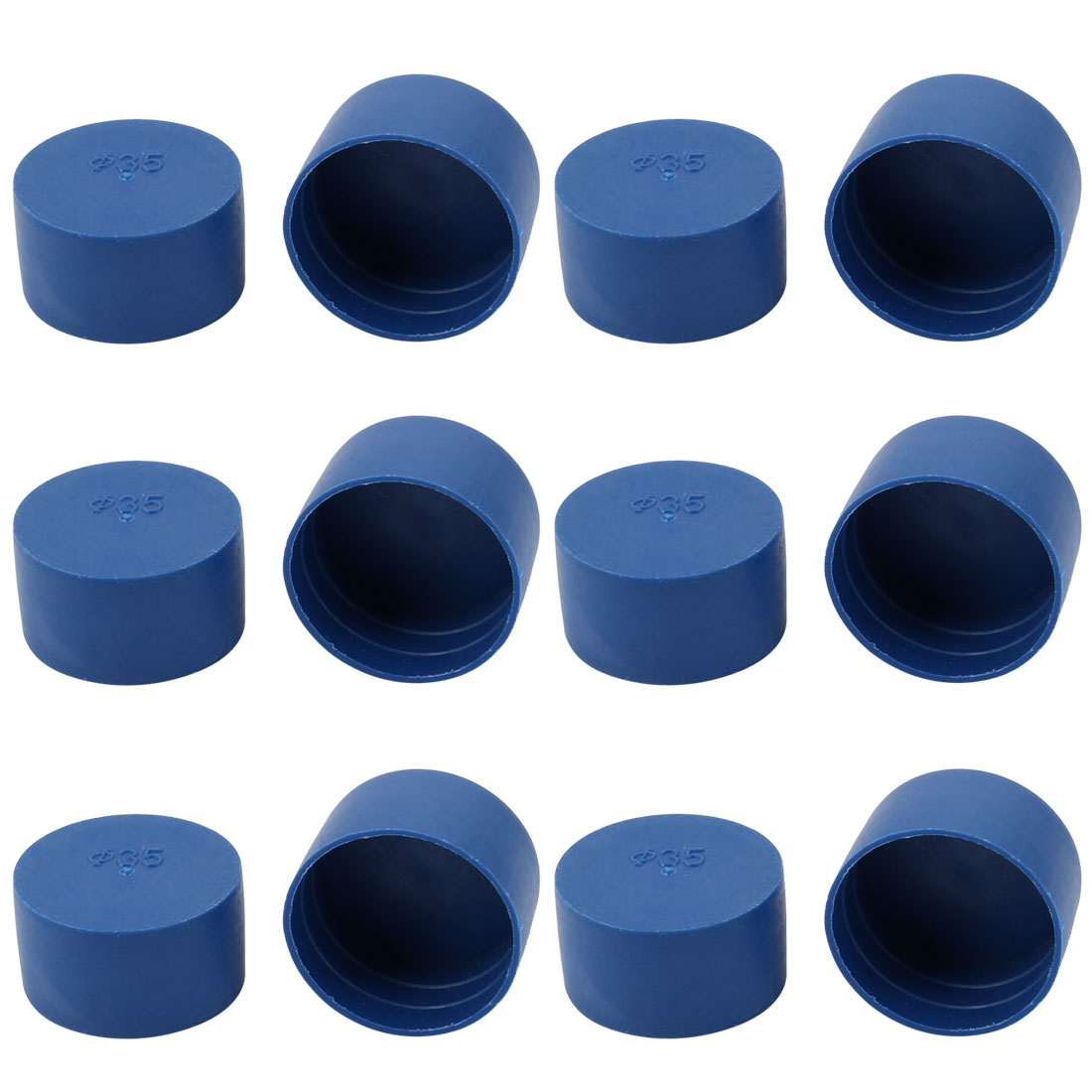12pcs 35mm Inner Dia PE Plastic End Cap Bolt Thread Protector Tube Cover Blue