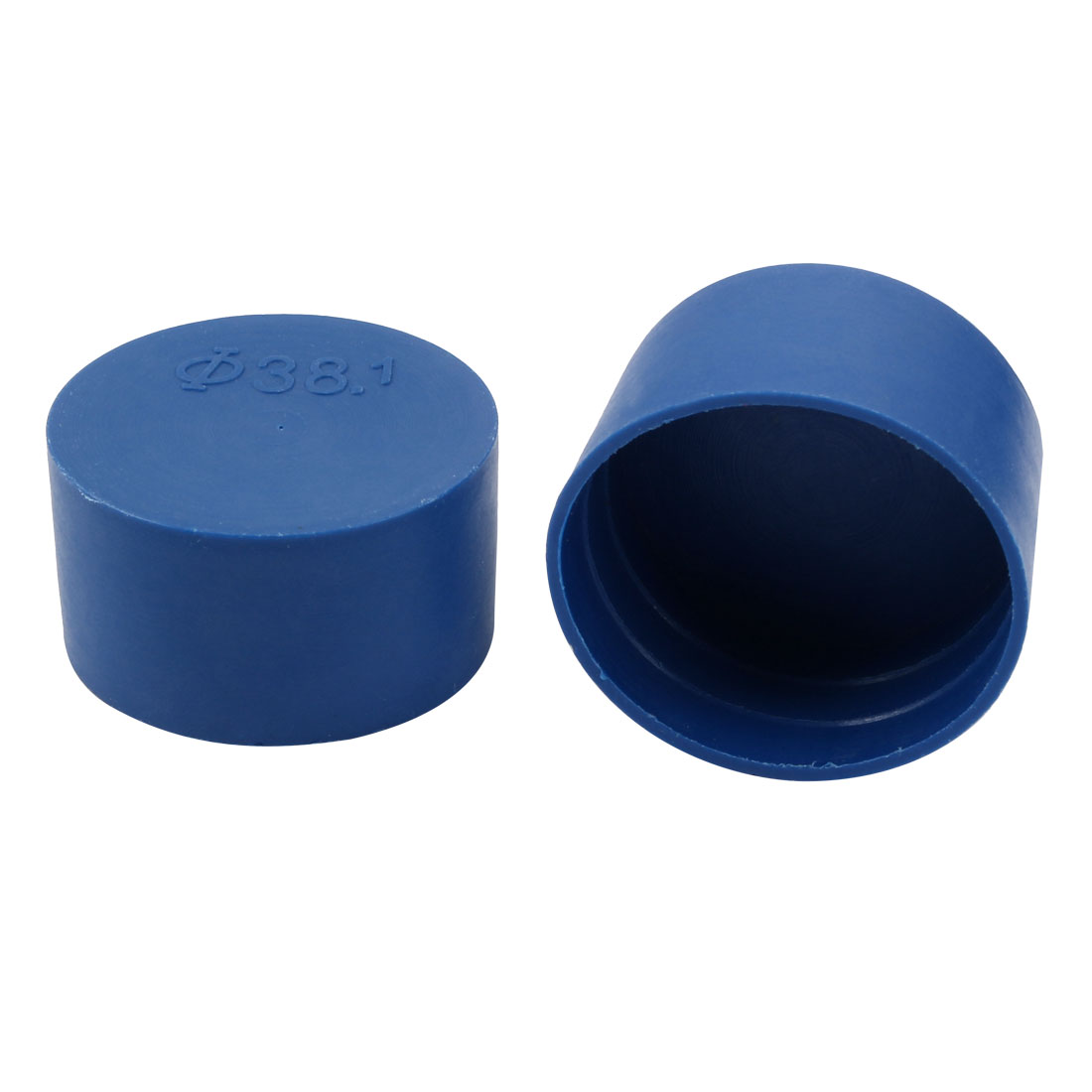 2pcs 38mm Inner Dia PE Plastic End Cap Bolt Thread Protector Tube Cover Blue