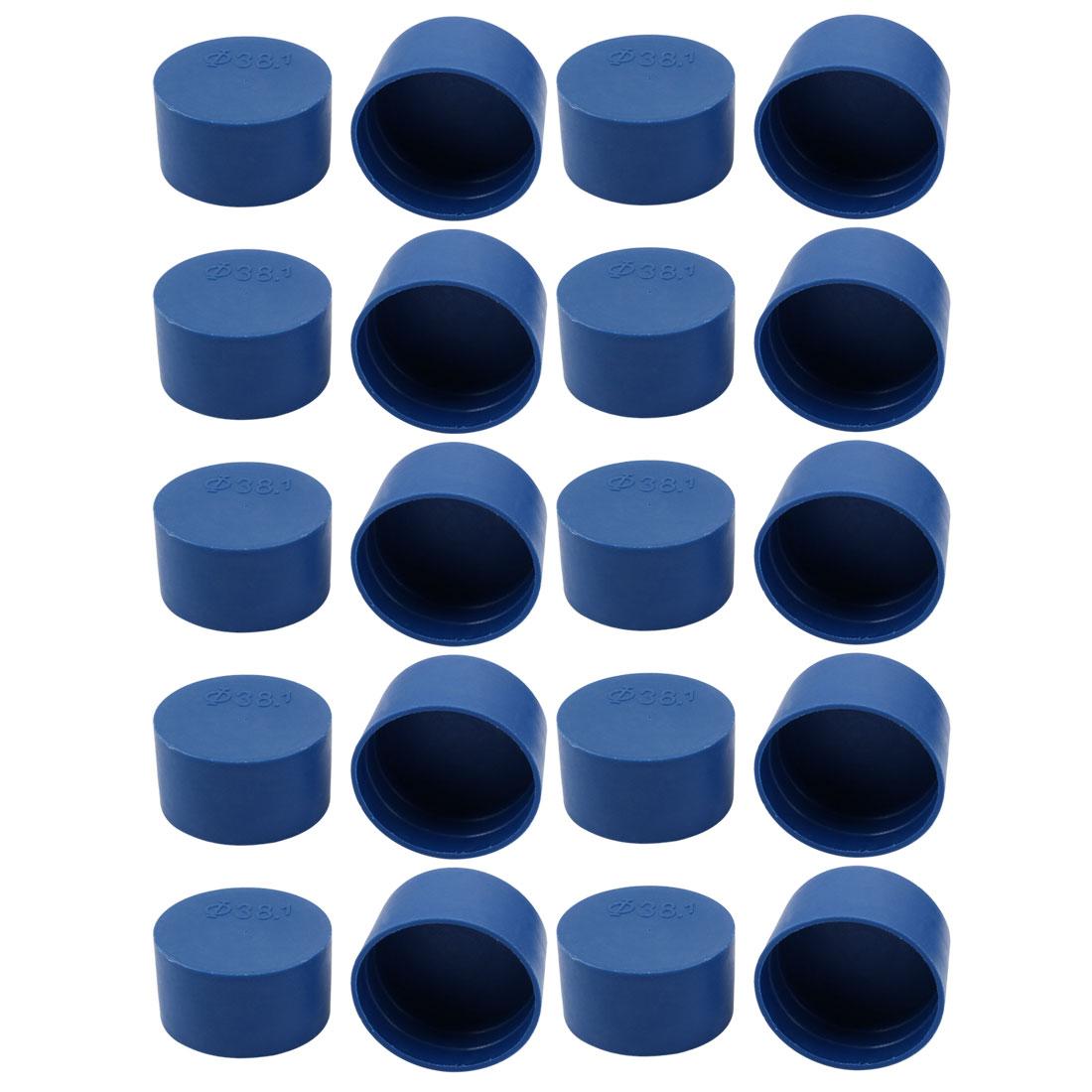 20pcs 38mm Inner Dia PE Plastic End Cap Bolt Thread Protector Tube Cover Blue