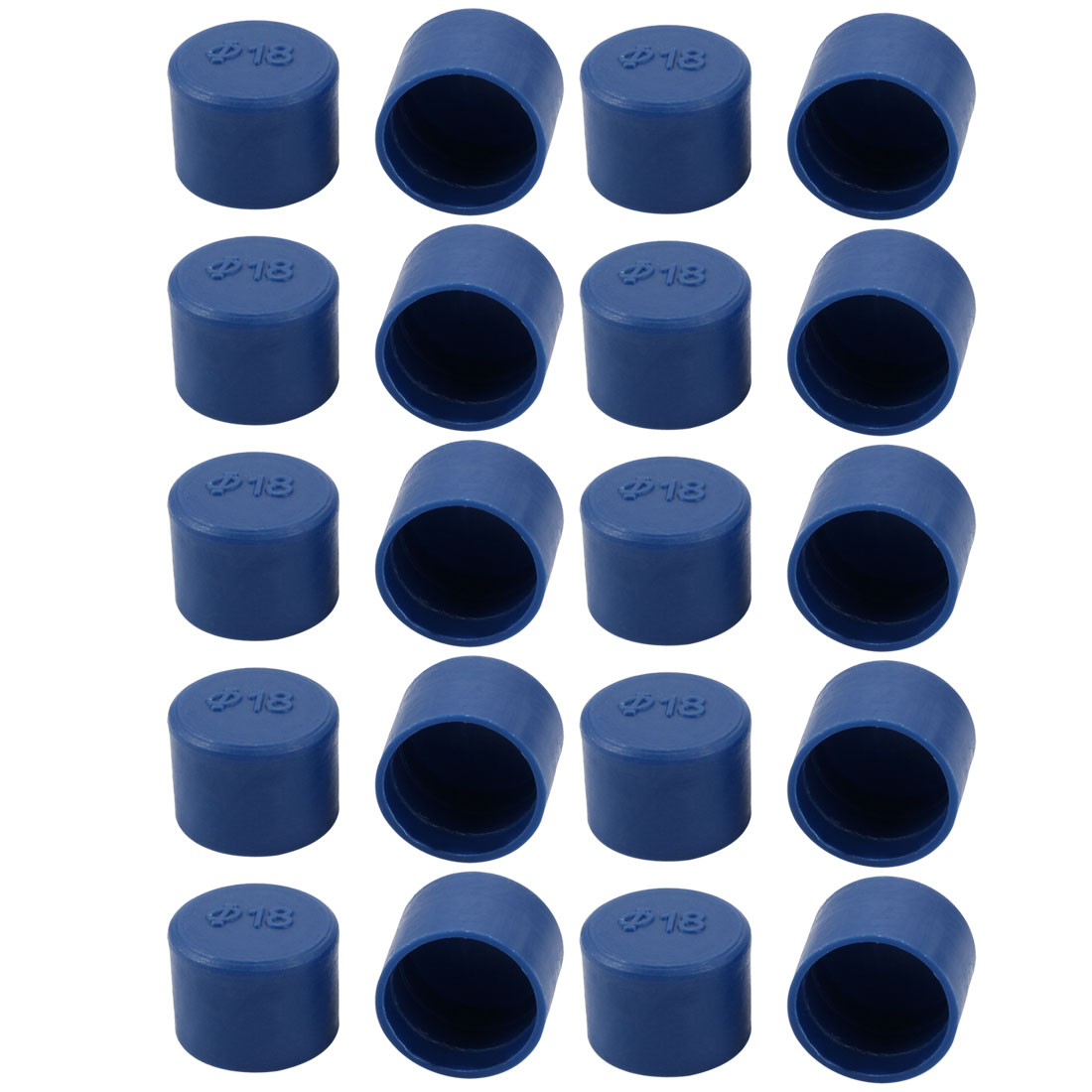 20pcs 18mm Inner Dia PE Plastic End Cap Bolt Thread Protector Tube Cover Blue