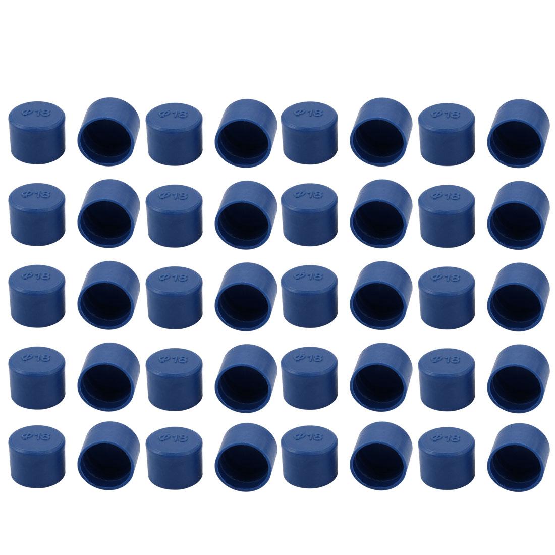 40pcs 18mm Inner Dia PE Plastic End Cap Bolt Thread Protector Tube Cover Blue