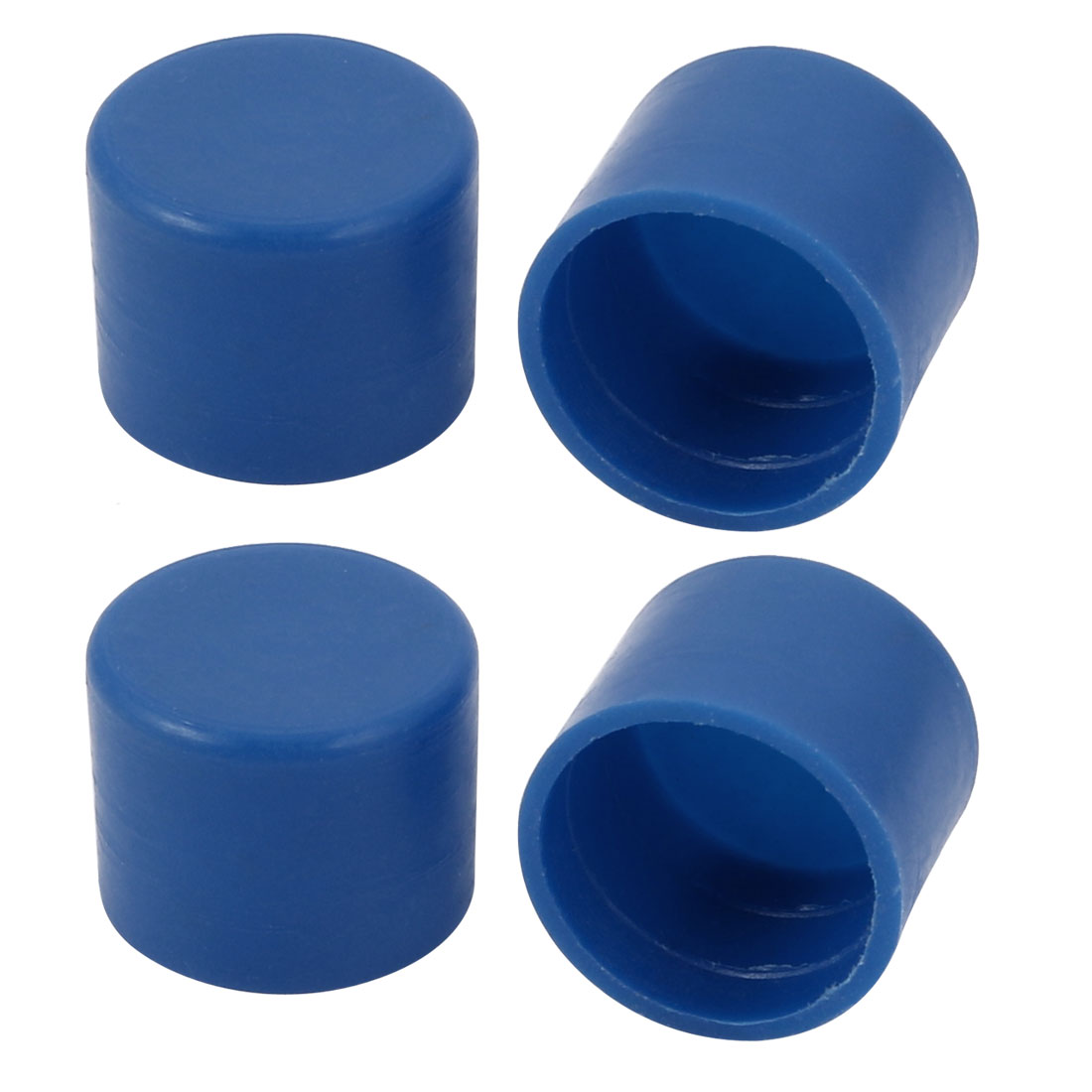 4pcs 15mm Outer Dia PE Plastic End Cap Bolt Thread Protector Tube Cover Blue