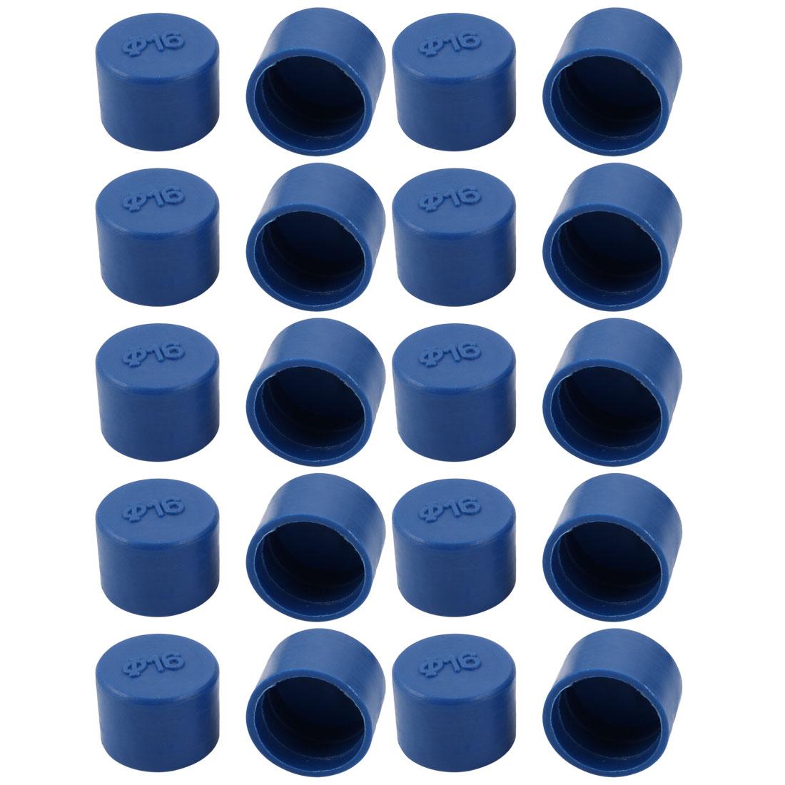 20pcs 16mm Inner Dia PE Plastic End Cap Bolt Thread Protector Tube Cover Blue