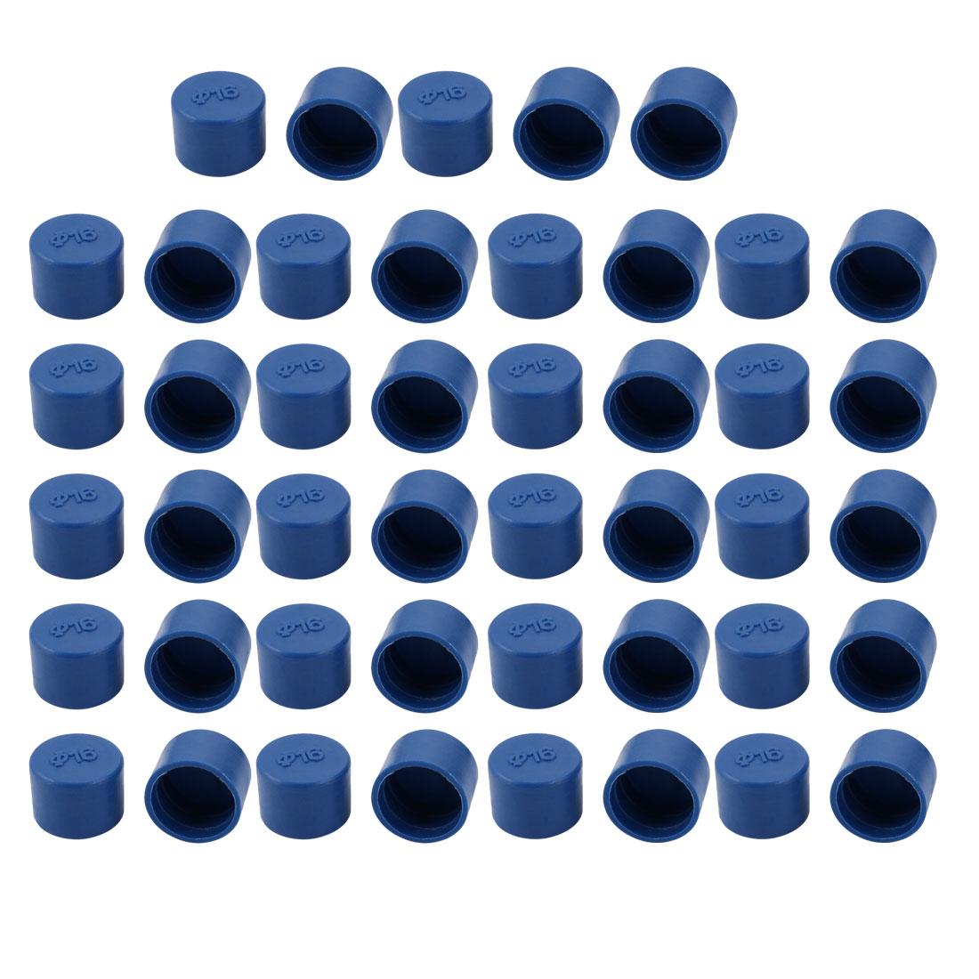 45pcs 16mm Inner Dia PE Plastic End Cap Bolt Thread Protector Tube Cover Blue