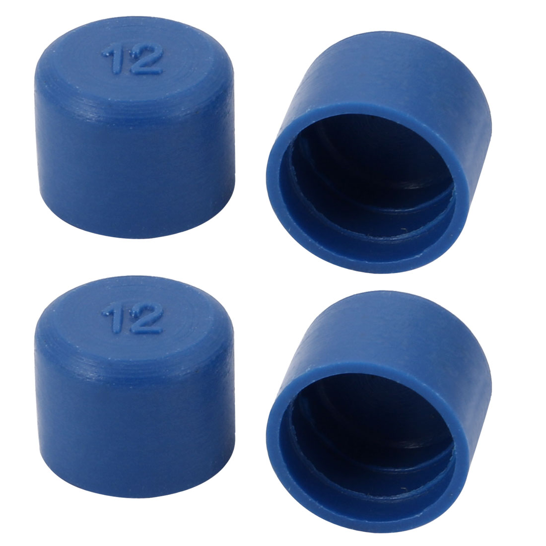 4pcs 12mm Inner Dia PE Plastic End Cap Bolt Thread Protector Tube Cover Blue