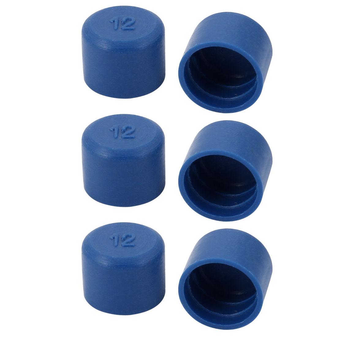 6pcs 12mm Inner Dia PE Plastic End Cap Bolt Thread Protector Tube Cover Blue