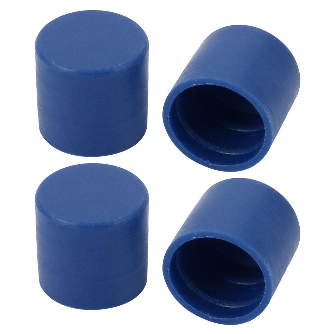 4pcs 10mm Inner Dia PE Plastic End Cap Bolt Thread Protector Tube Cover Blue