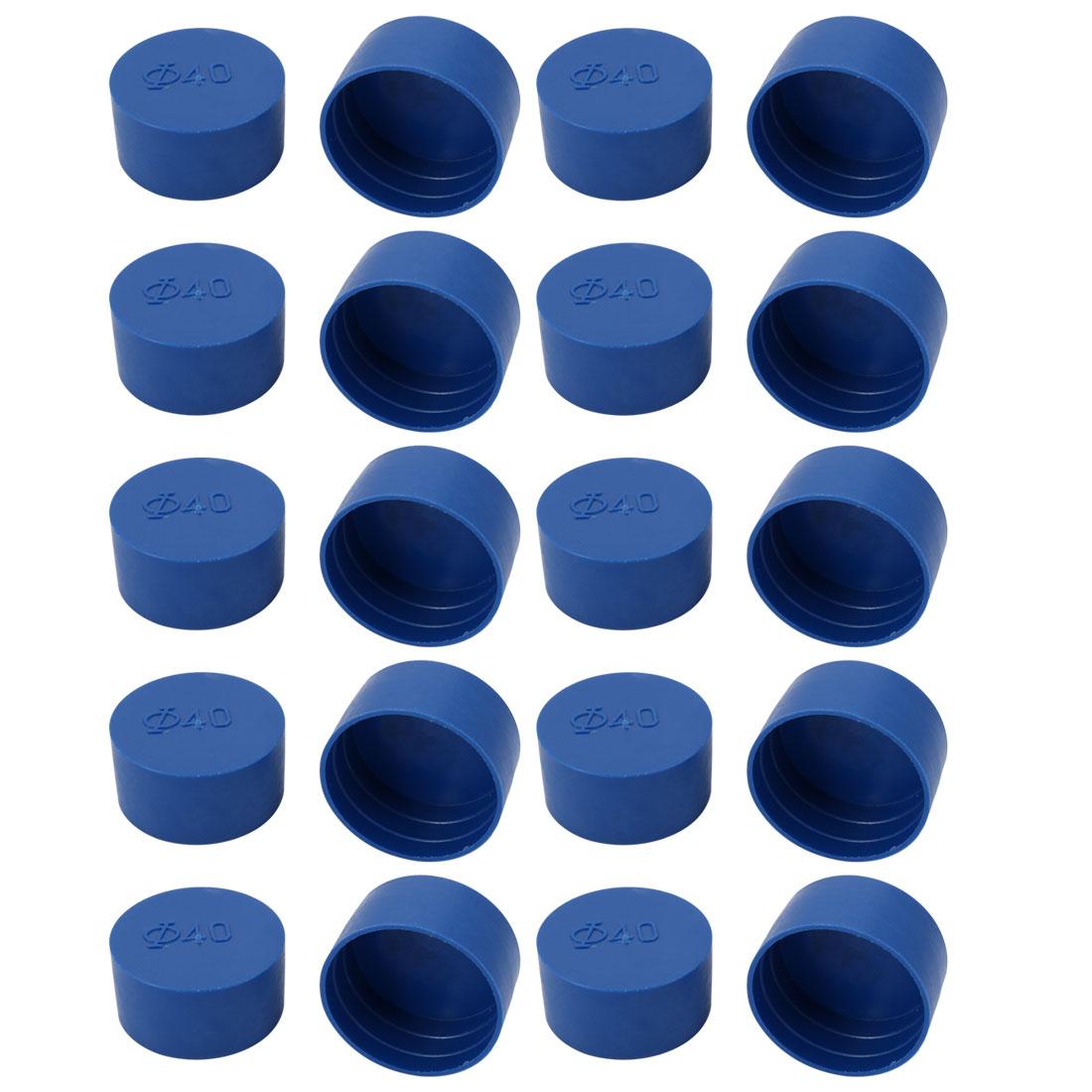 20pcs 40mm Inner Dia PE Plastic End Cap Bolt Thread Protector Tube Cover Blue