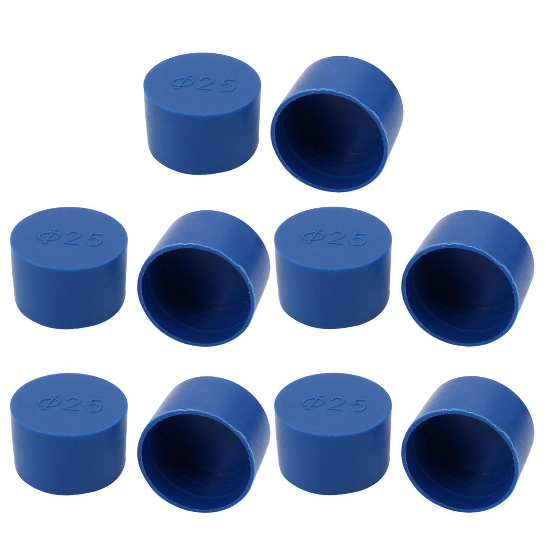 10pcs 25mm Inner Dia PE Plastic End Cap Bolt Thread Protector Tube Cover Blue