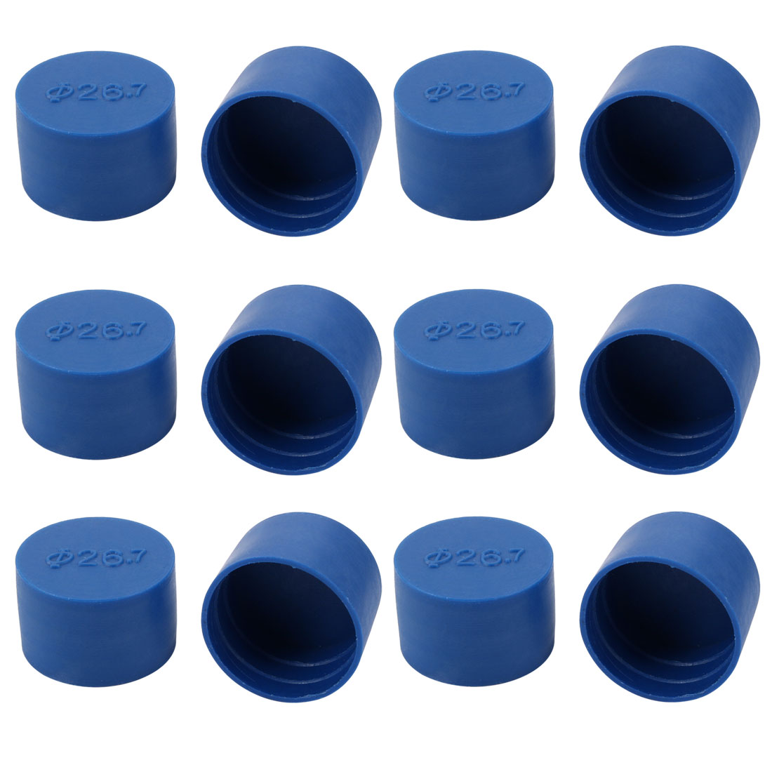 12pcs 26.7mm Inner Dia PE Plastic End Cap Bolt Thread Protector Tube Cover Blue