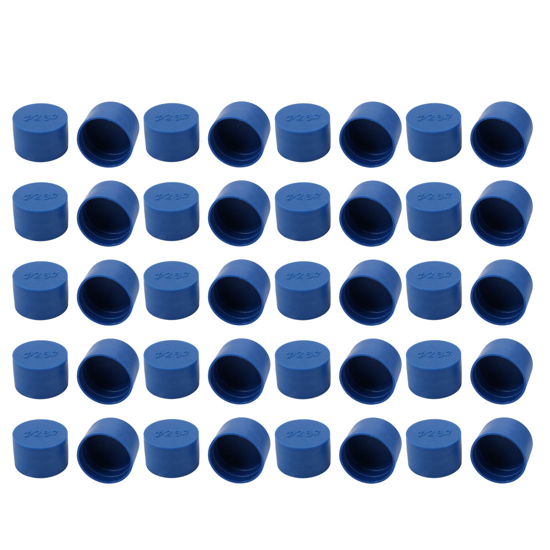 40pcs 26.7mm Inner Dia PE Plastic End Cap Bolt Thread Protector Tube Cover Blue