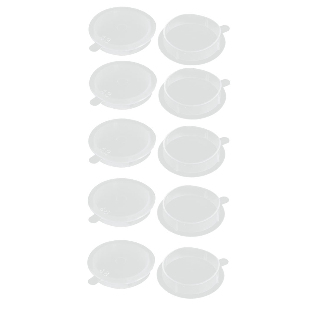 10pcs M48 PE Flat Blanking End Tube Insert Cap Round Cover Transparent