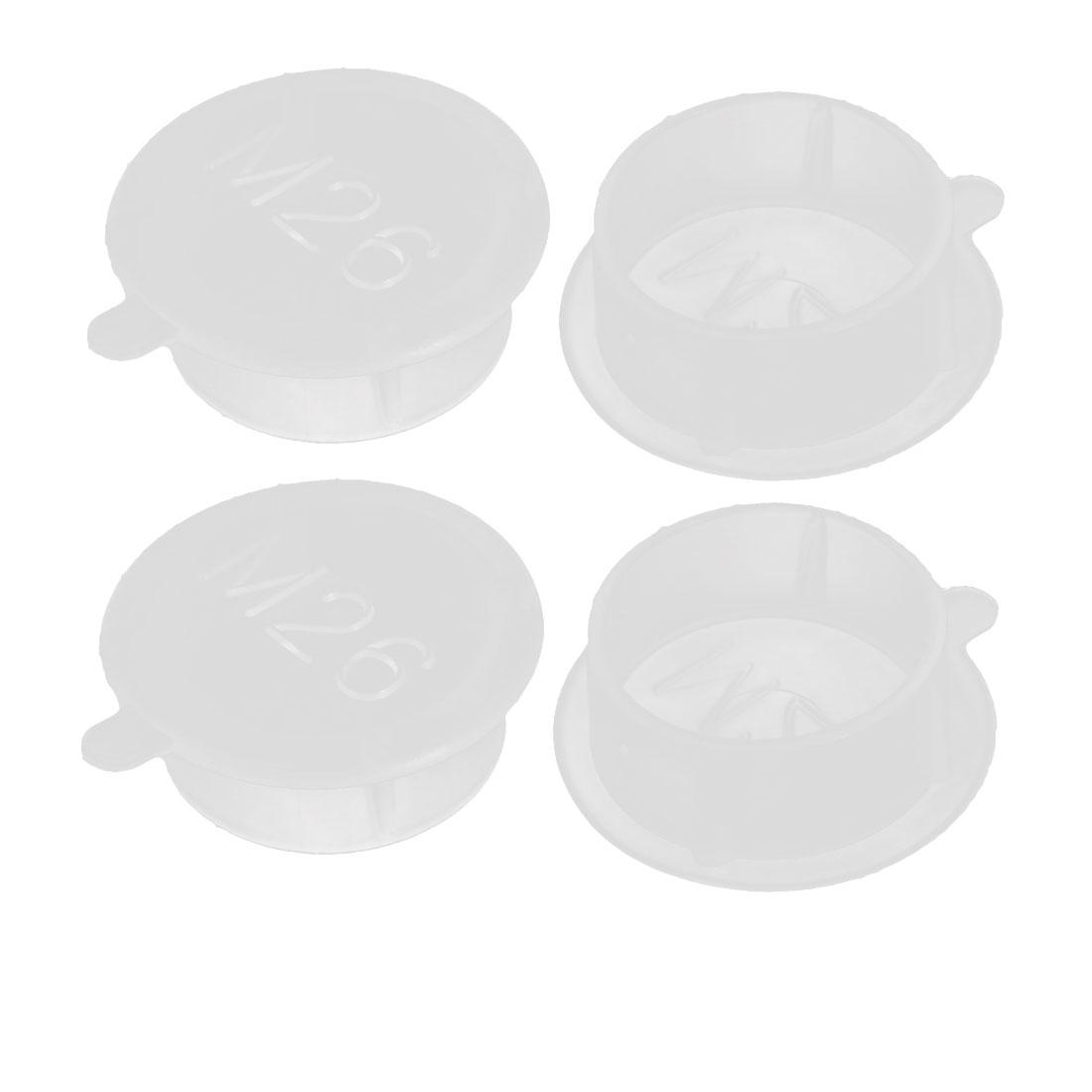 4pcs M26 PE Flat Blanking End Tube Insert Cap Round Cover Transparent